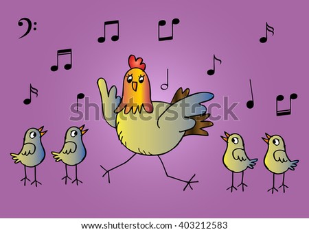 Mother hen and four chicks singing together - stock vector