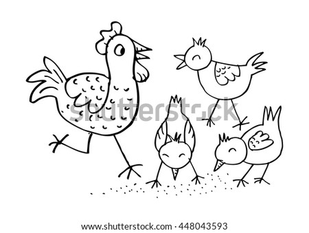 Mother hen with its baby chicks . Sketchy style. - stock vector