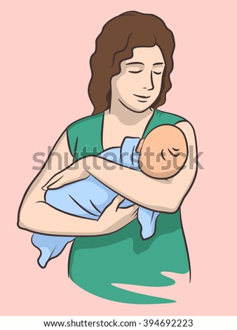 Mother holding a baby - stock vector