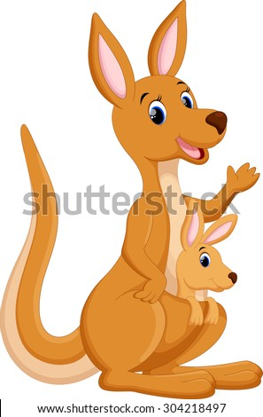 Mother kangaroo with her baby - stock vector