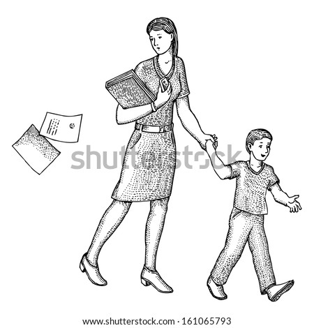 Mother leads her son to school - stock vector