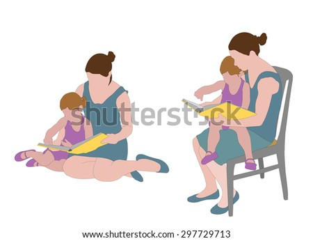 mother reading book to child - stock vector