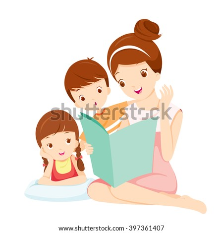 Mother Reading Tale Book To Daughter And Son, Mother, Mother'??s Day, Children, Tale, Reading, Family, Relaxing  - stock vector