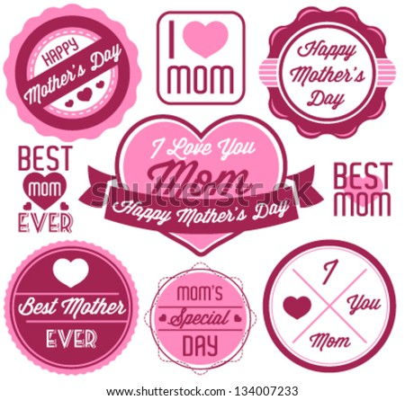 Mother's Day Badges and Labels in Vintage Style - stock vector