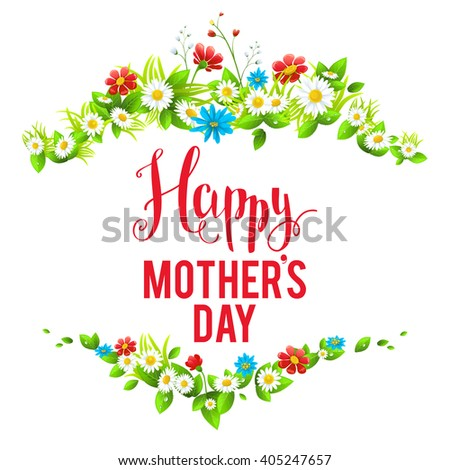 Mother's day card with flowers. Place for text. Bright holiday card with flowers for design banner,ticket, leaflet and so on. - stock vector