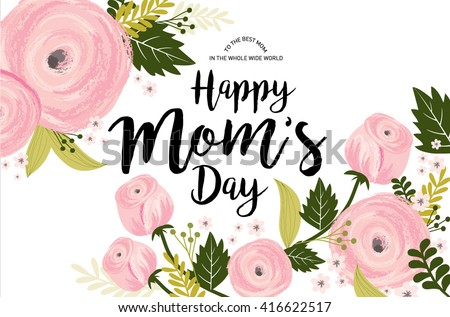 mother's day greeting template vector/illustration - stock vector