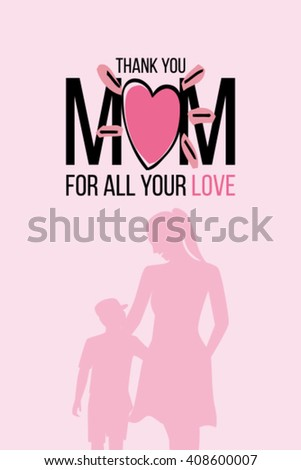 mother silhouette with her baby. Card of Happy Mothers Day.  - stock vector