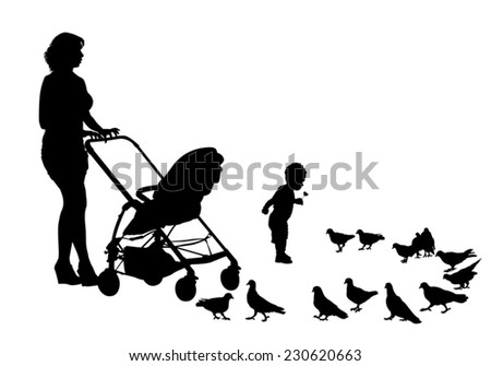 Mother walks with the kids and a stroller for a walk. Mother and child feeding pigeons - stock vector