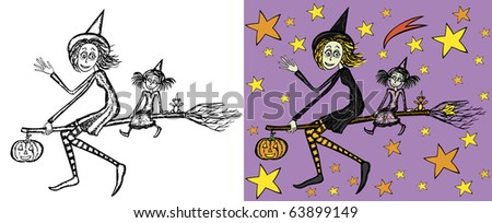 Mother witch and daughter witch flying on the broom. Colored version, black and white version and sky background are on different layers. - stock vector