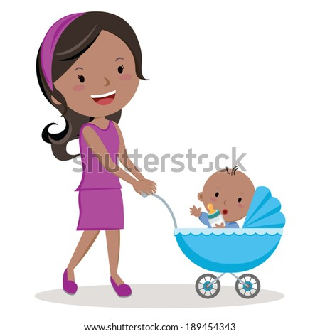 Mother with baby stroller. Young mother pushing baby boy in pram with milk bottle. - stock vector