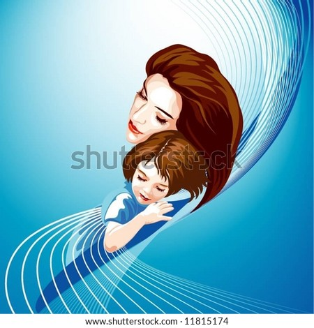 mother with child - stock vector