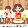 Mother with the daughter cook dough. vector - stock vector