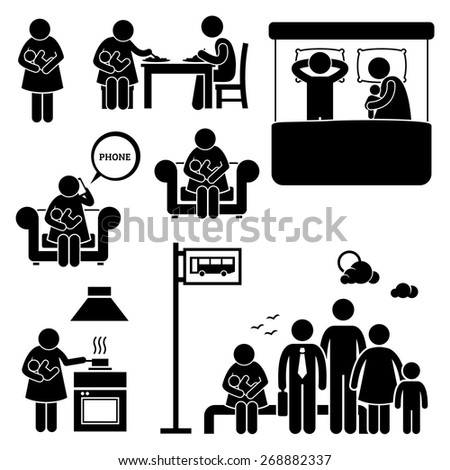 Mother Woman Breastfeeding Baby Stick Figure Pictogram Icons - stock vector