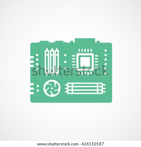 Motherboard Green Flat Icon On White Background - stock vector