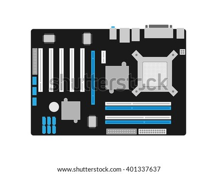 Motherboard on a black PCB - stock vector