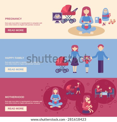 Motherhood horizontal banner set with pregnancy and happy family flat elements isolated vector illustration - stock vector