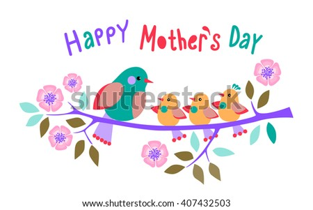 Mothers Day ?ard. Mother a bird and baby birds on the blossoming branch - stock vector
