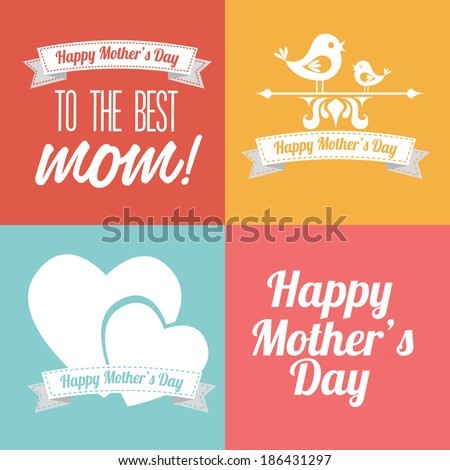 Mothers day design over colorful background, vector illustration - stock vector