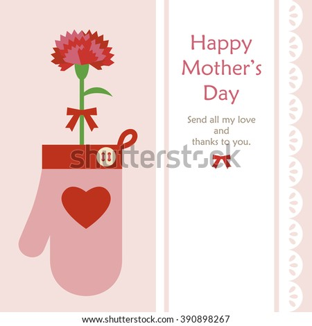 Mothers day Mitten & a carnation - stock vector