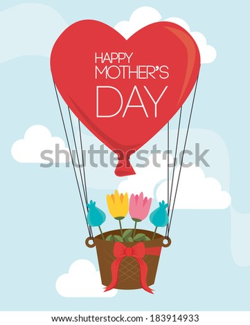 Mothers day over sky landscape background, vector illustration - stock vector