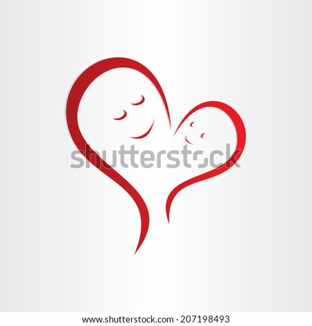 mothers love icon mother and baby heart shape connection - stock vector
