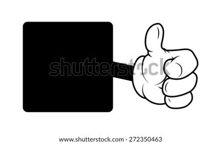 Motivate Cartoon Hand Thumbs Up Banner - stock vector