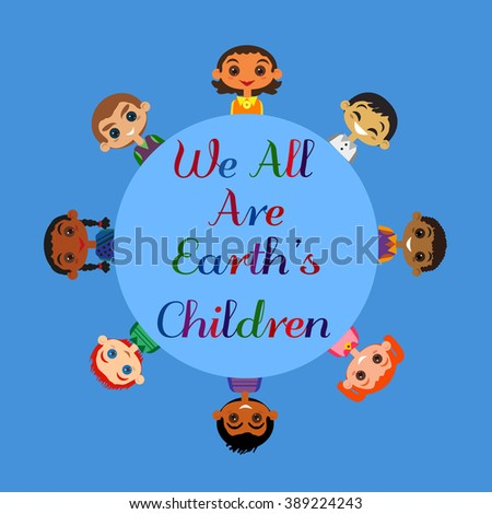 Motivated illustration of nations friendship United Children. Concept of Earth unity all nationalities. Kids of different nations friendship. Different nations are united friends. vector illustration. - stock vector