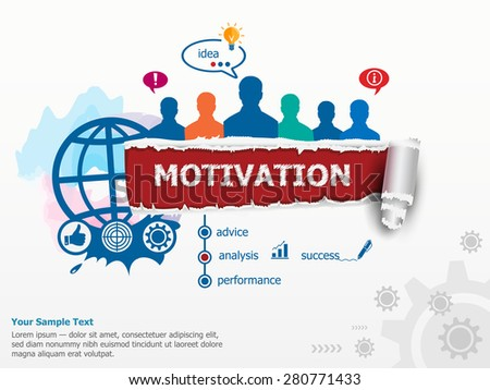 Motivation concept and group of people. Set of flat design illustration concepts for business, consulting, finance, management, career, human resources.   - stock vector