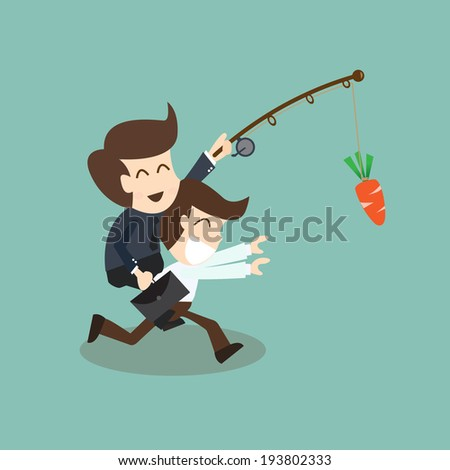motivation concept - businessman chased with carrot  - stock vector