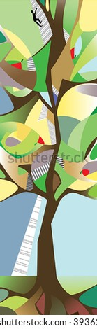Motivation person to go up. Tall tree. Vector background. - stock vector