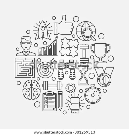 Motivation round illustration - vector business leadership concept or self-development symbol made with linear icons - stock vector