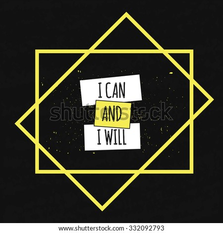 Motivational Quote Typographical poster on a black background with drops of colored paint in a decorative frame to set the mood and fighting spirit. I CAN. Vector illustration - stock vector