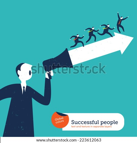 Motivator man with arrow and group of people. Vector illustration Eps10 file. Global colors. Text and Texture in separate layers. - stock vector