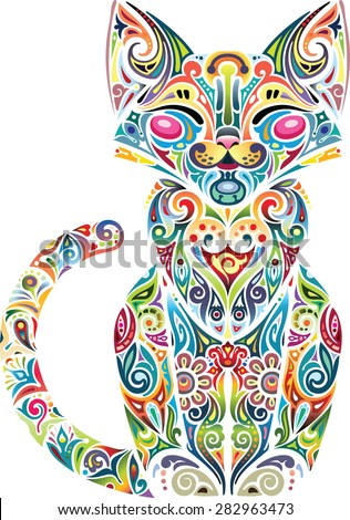 Motley cat, light - stock vector