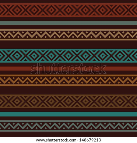 motley ethnic seamless pattern. dark brown background and multicolored borders, vector illustration - stock vector