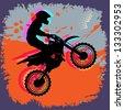 Motocross abstract background, vector illustration - stock vector