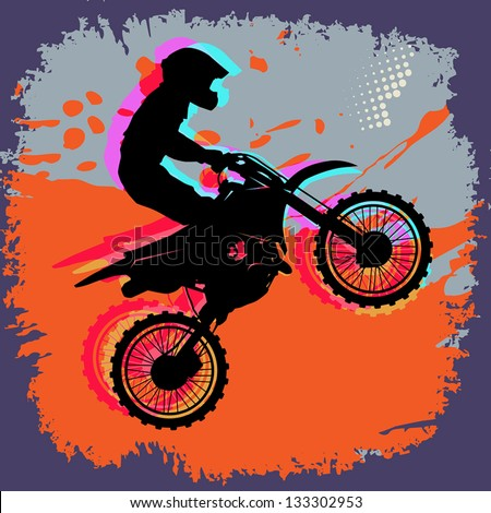 Motocross abstract background, vector illustration - stock vector