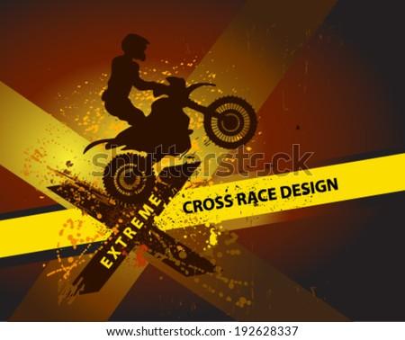 motocross background motorbike silhouette - stock vector
