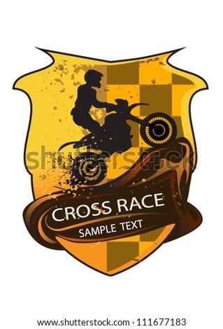 motocross emblem, motorbike - stock vector