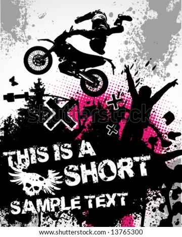 Motocross Poster Vector Illustration - stock vector