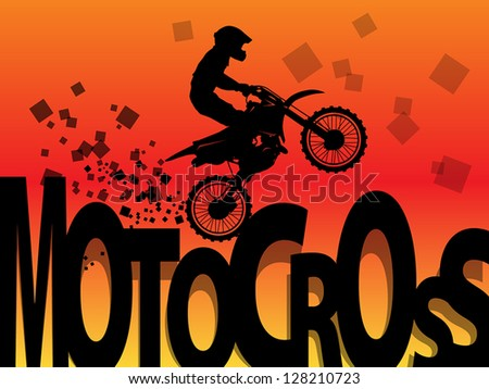 Motocross racing background, vector illustration - stock vector