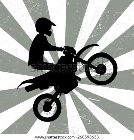 Motocross retro illustration - stock vector