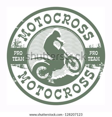 Motocross stamp, vector illustration - stock vector