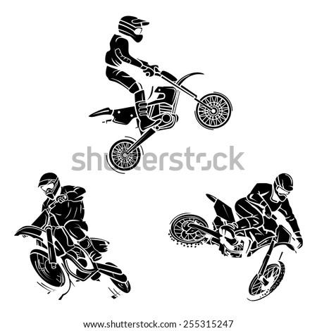 Motocross Tattoo Collection - stock vector