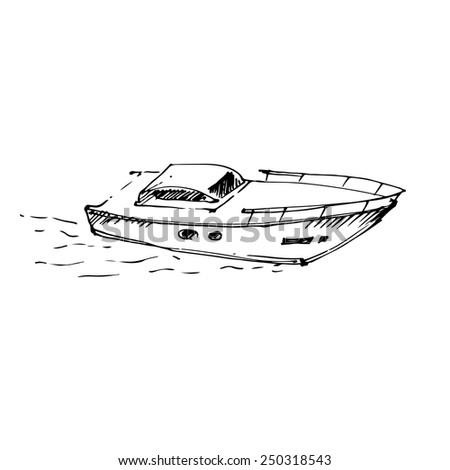 Motor boat on the sea. Vector illustration. - stock vector