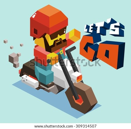 Motor club event party. isometric art - stock vector