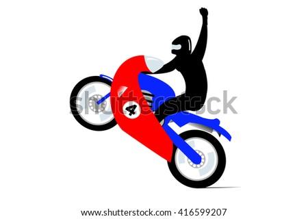 Motor cycle Wheelie - stock vector