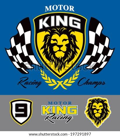Motor lion racing graphic set - stock vector