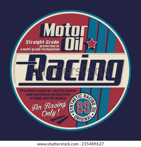 Motor racing typography, t-shirt graphics, vectors - stock vector