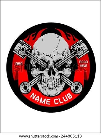Motor skull crest graphic - stock vector